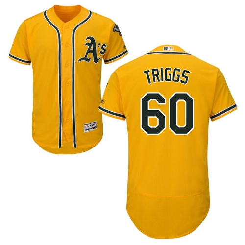 Men's Majestic Oakland Athletics #60 Andrew Triggs Gold Flexbase Authentic Collection MLB Jersey