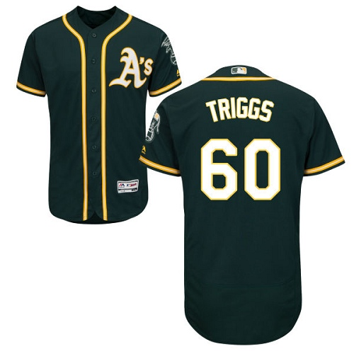 Men's Majestic Oakland Athletics #60 Andrew Triggs Green Flexbase Authentic Collection MLB Jersey