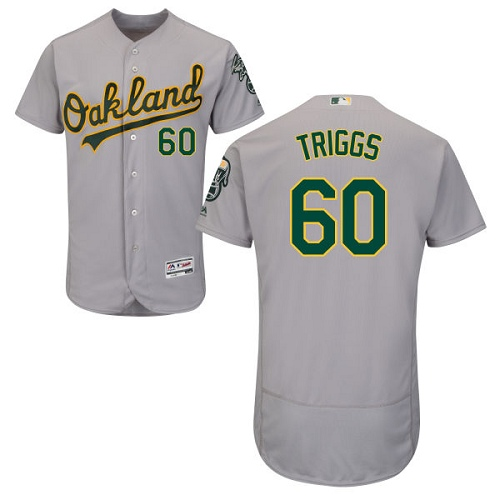 Men's Majestic Oakland Athletics #60 Andrew Triggs Grey Flexbase Authentic Collection MLB Jersey