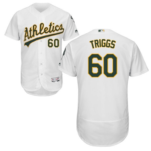 Men's Majestic Oakland Athletics #60 Andrew Triggs White Flexbase Authentic Collection MLB Jersey
