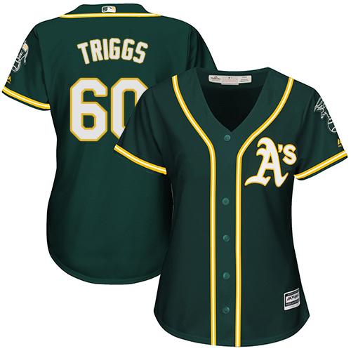 Women's Majestic Oakland Athletics #60 Andrew Triggs Authentic Green Alternate 1 Cool Base MLB Jersey