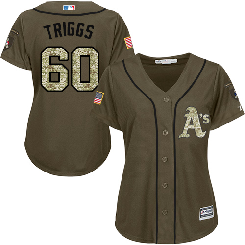 Women's Majestic Oakland Athletics #60 Andrew Triggs Authentic Green Salute to Service MLB Jersey