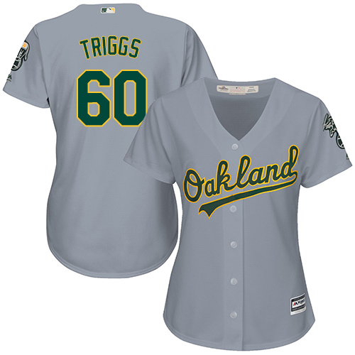 Women's Majestic Oakland Athletics #60 Andrew Triggs Replica Grey Road Cool Base MLB Jersey
