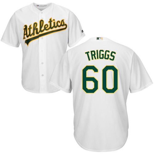 Youth Majestic Oakland Athletics #60 Andrew Triggs Replica White Home Cool Base MLB Jersey