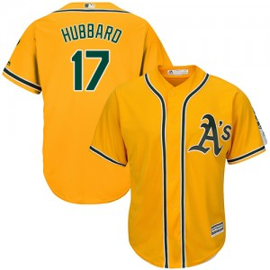 Men's Majestic Oakland Athletics #17 Glenn Hubbard Replica Gold Alternate 2 Cool Base MLB Jersey