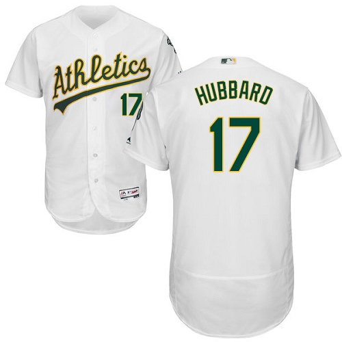 Men's Majestic Oakland Athletics #17 Glenn Hubbard White Home Flex Base Authentic Collection MLB Jersey