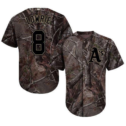 Men's Majestic Oakland Athletics #8 Jed Lowrie Authentic Camo Realtree Collection Flex Base MLB Jersey