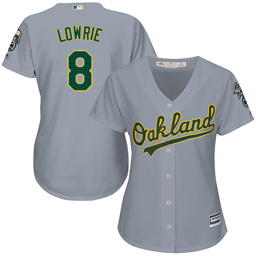 Women's Majestic Oakland Athletics #8 Jed Lowrie Replica Grey Road Cool Base MLB Jersey