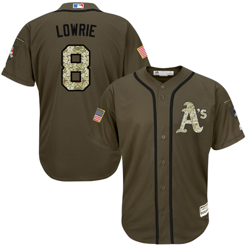 Youth Majestic Oakland Athletics #8 Jed Lowrie Authentic Green Salute to Service MLB Jersey
