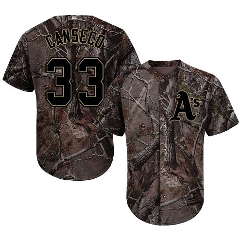 Men's Majestic Oakland Athletics #33 Jose Canseco Authentic Camo Realtree Collection Flex Base MLB Jersey