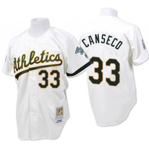 Men's Mitchell and Ness Oakland Athletics #33 Jose Canseco Authentic White Throwback MLB Jersey