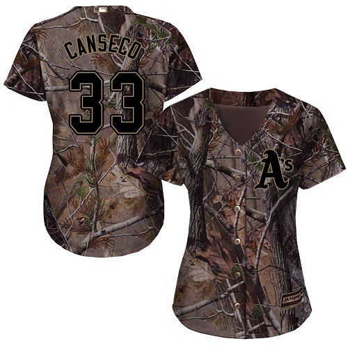 Women's Majestic Oakland Athletics #33 Jose Canseco Authentic Camo Realtree Collection Flex Base MLB Jersey
