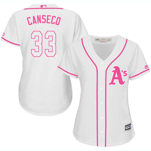 Women's Majestic Oakland Athletics #33 Jose Canseco Authentic White Fashion Cool Base MLB Jersey