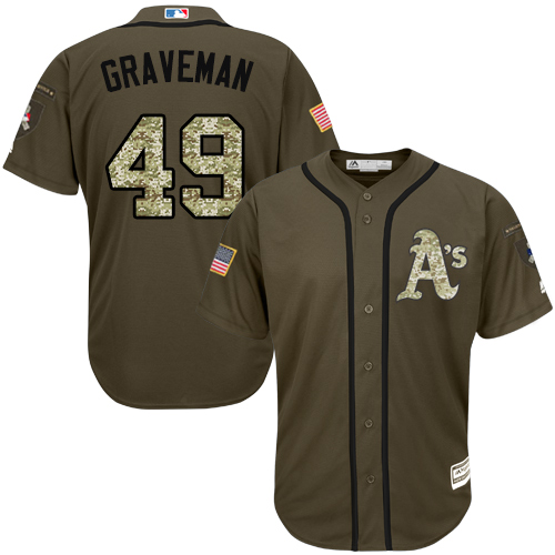 Men's Majestic Oakland Athletics #49 Kendall Graveman Authentic Green Salute to Service MLB Jersey