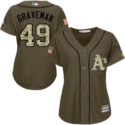 Women's Majestic Oakland Athletics #49 Kendall Graveman Authentic Green Salute to Service MLB Jersey