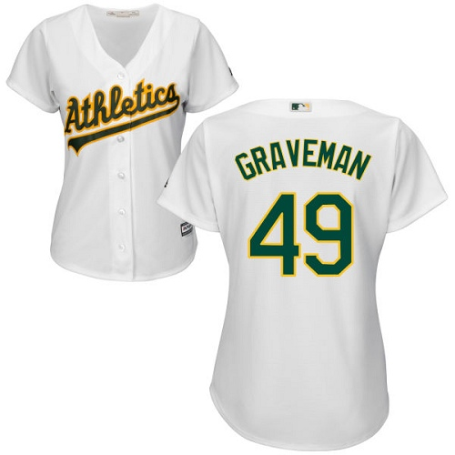 Women's Majestic Oakland Athletics #49 Kendall Graveman Authentic White Home Cool Base MLB Jersey