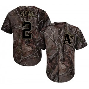 Men's Majestic Oakland Athletics #2 Khris Davis Authentic Camo Realtree Collection Flex Base MLB Jersey