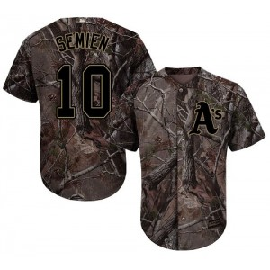 Men's Majestic Oakland Athletics #10 Marcus Semien Authentic Camo Realtree Collection Flex Base MLB Jersey