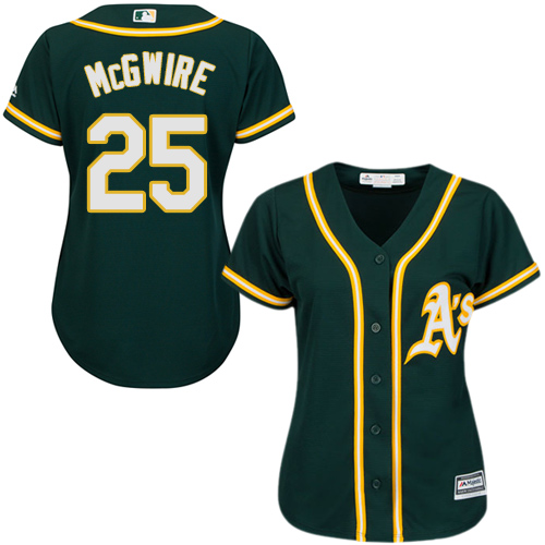 Women's Majestic Oakland Athletics #25 Mark McGwire Authentic Green Alternate 1 Cool Base MLB Jersey