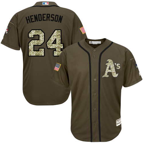 Men's Majestic Oakland Athletics #24 Rickey Henderson Authentic Green Salute to Service MLB Jersey