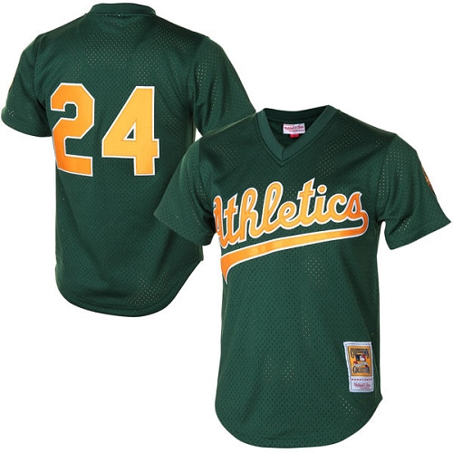 Men's Mitchell and Ness Oakland Athletics #24 Rickey Henderson Replica Green 1998 Throwback MLB Jersey