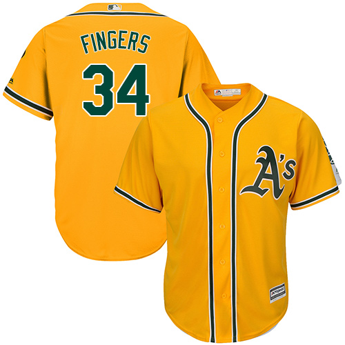 Men's Majestic Oakland Athletics #34 Rollie Fingers Replica Gold Alternate 2 Cool Base MLB Jersey