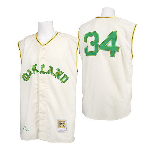 Men's Mitchell and Ness 1968 Oakland Athletics #34 Rollie Fingers Authentic Cream Throwback MLB Jersey