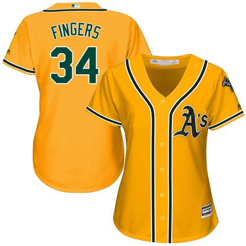 Women's Majestic Oakland Athletics #34 Rollie Fingers Authentic Gold Alternate 2 Cool Base MLB Jersey