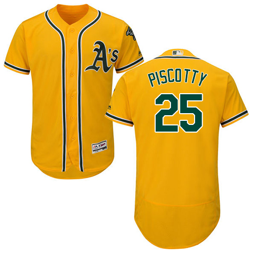 Men's Majestic Oakland Athletics #25 Stephen Piscotty Gold Alternate Flex Base Authentic Collection MLB Jersey